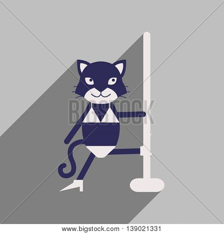 flat icon with long shadow cat cartoon