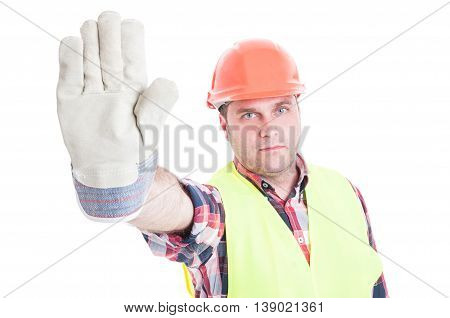 Stop Concept With Male Builder Doing Warning Gesture