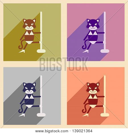 Set of flat icons with long shadow cat cartoon
