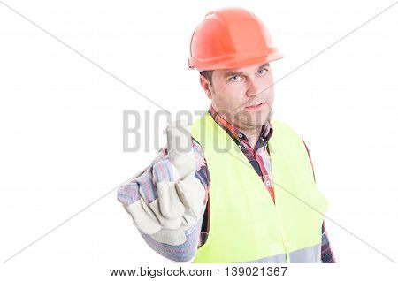Serious Constructor Doing Refusal Gesture