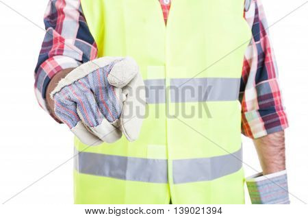 Closeup Of Builder Hand Pointing At You