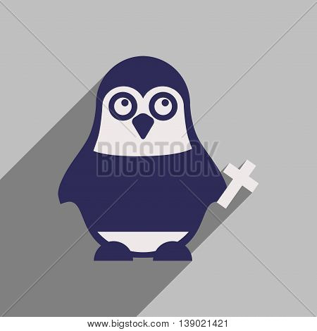 flat icon with long shadow penguin cartoon