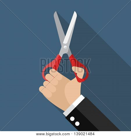 Hand holding a pair of scissors. Vector illustration
