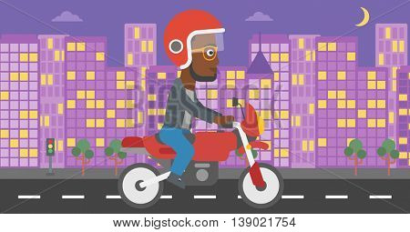 An african-american young man in helmet riding a motorcycle on the background of night city. Man driving a motorbike on a city road. Vector flat design illustration. Horizontal  layout.