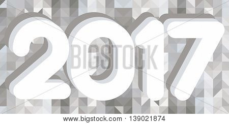 Overlapping white New Year numerals on a low poly monochromatic background design