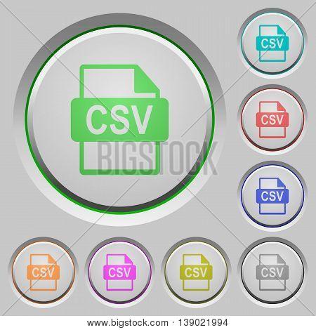 Set of color CSV file format sunk push buttons.