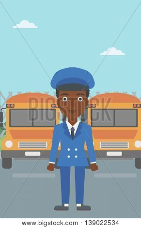 An african-american young school bus driver standing in front of yellow bus. Vector flat design illustration. Vertical layout.