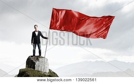 Guy with red flag . Mixed media