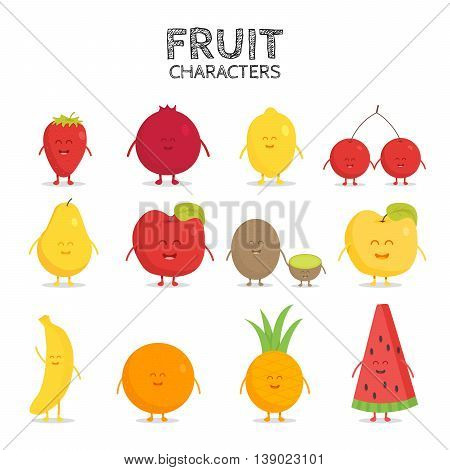 Fruit set. Strawberry, pomegranate, lemon, cherry, pear, apple, kiwi banana pineapple orange watermelon Vector cartoon Friends forever Comic characters