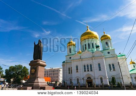Rostov on Don Russia - Aug 29 2013: Cathedral of the Most Holy Mother of God and statue of Metropolitan Bishop of Rostov region Dimitry. Religion theme background with copy space
