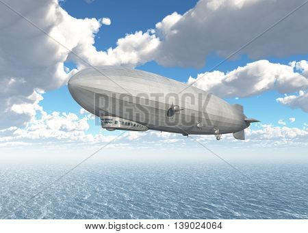 Computer generated 3D illustration with an airship over the sea