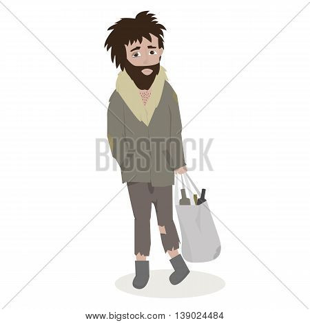 Homeless. Bearded Man in dirty rags. Vector Illustration