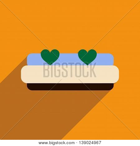 Flat web icon with long shadow bed