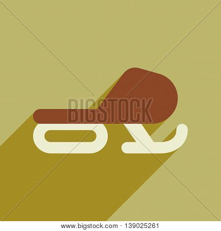 Flat web icon with long shadow Snowmobile
