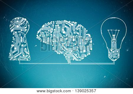 keyhole lamp and circuit board in form of human brain
