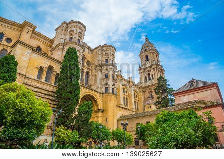 Old and beautiful artistic architecture of Malaga cathedral in Spain - Andalusia. Travel Andalusia, Spain
