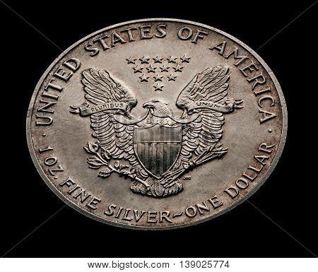 US dollar with eagle isolated on black macro shot