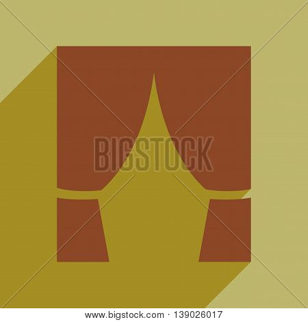 Flat web icon with long shadow curtain