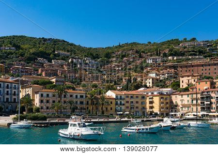 Porto Santo Stefano Bay With Fishing Boats And Yachts