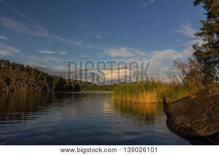 Sunrise on lake Ladoga, Karelian isthmus, Russia