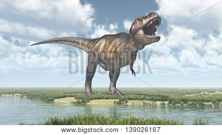 Computer generated 3D illustration with the dinosaur Tyrannosaurus Rex at a river