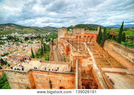 The Albaicin Neighborhood seen From The Alhambra Palace in Granada Spain