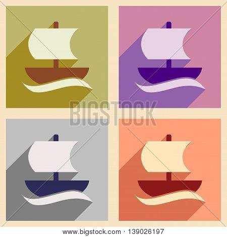 Set of flat web icons with long shadow sailing ship