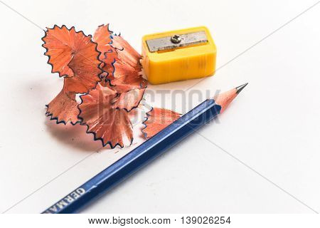 Pencil And Pencil Sharpener On White Background