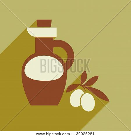 Flat web icon with long shadow olive oil