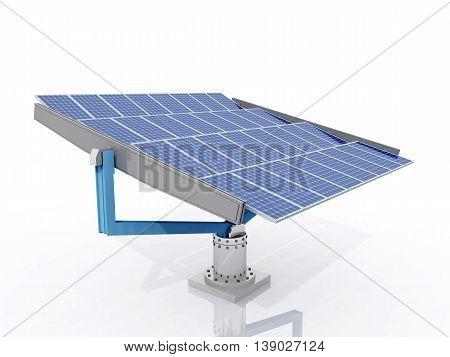 Computer generated 3D illustration with a solar panel against a white background