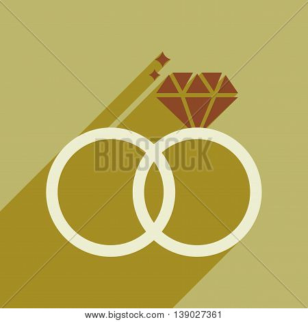 Flat web icon with long shadow wedding rings