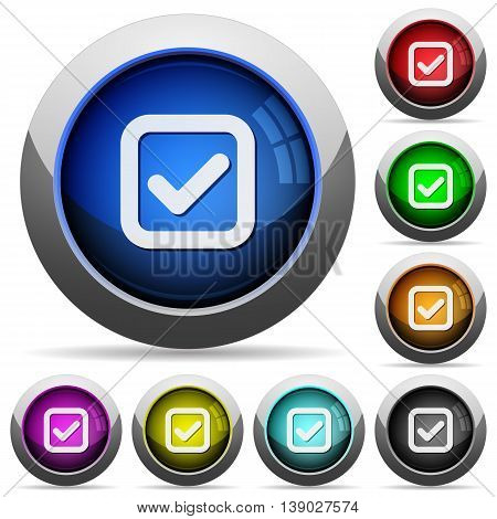 Set of round glossy Checkbox buttons. Arranged layer structure.