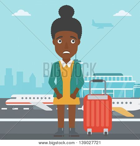 An african-american woman frightened by future flight. Woman standing at airport and suffering from fear of flying. Phobia, fear of flying concept. Vector flat design illustration. Square layout.