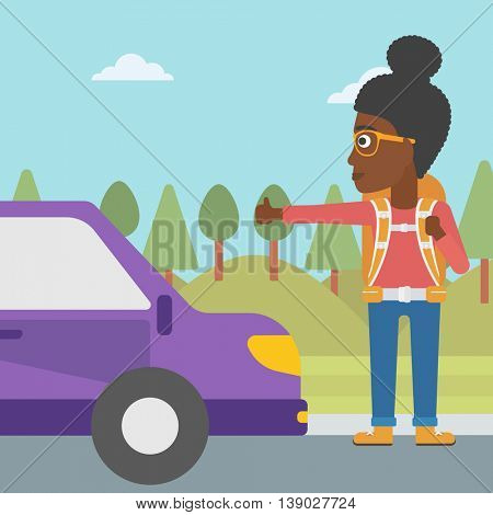 An african-american young woman with backpack hitchhiking on roadside. Hitchhiking woman trying to stop a car on the road. Vector flat design illustration. Square layout.