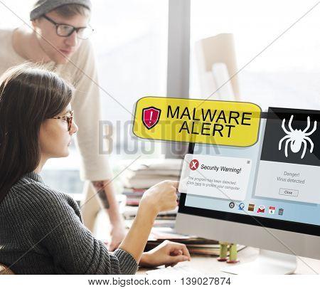 Malware Alert Computer Caution Concept