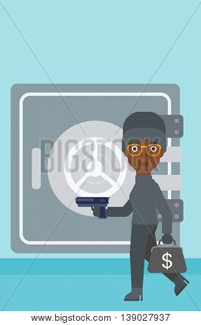 An african-american burglar in mask near the big safe door. Burglar holding hand gun and a bag with dollar sign. Thief stealing money. Vector flat design illustration. Vertical layout.