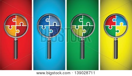 a magnifying glass on a multi coloured jigsaw set