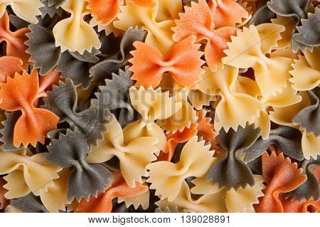 Colorful dry pasta background