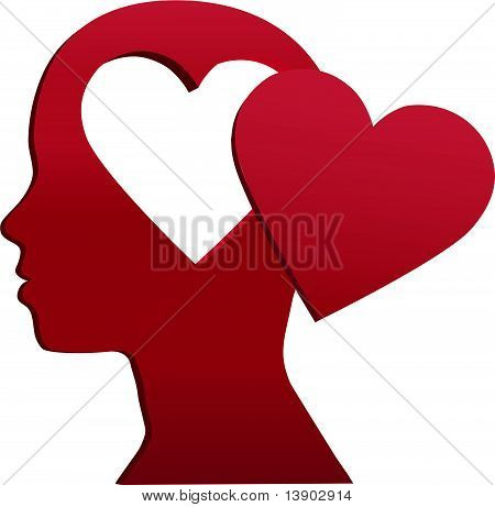 Valentine Girl Heart Head Love Mind Space
