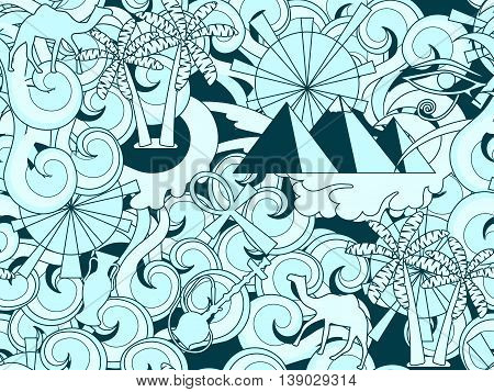 Seamless Egypt Pattern. Hand Drawn Doodle Ancient Egyptian Elements. Vector Illustration.