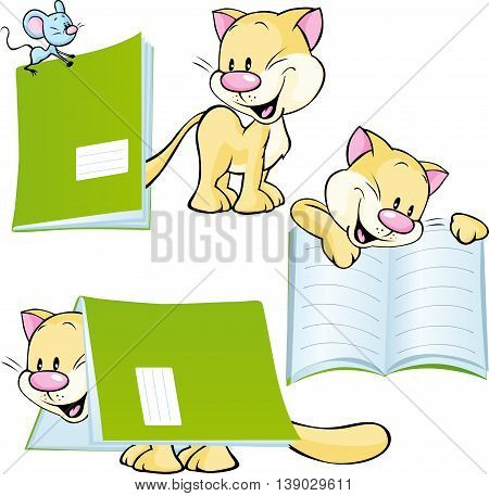 cheerful cat playing and learning with workbook - vector illustration