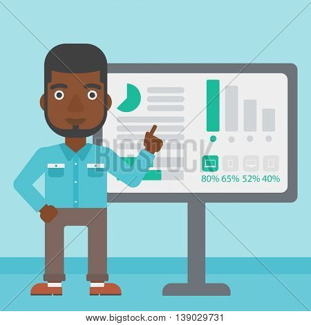 An african-american businessman pointing at charts on a board during business presentation. Man giving business presentation. Vector flat design illustration. Square layout.