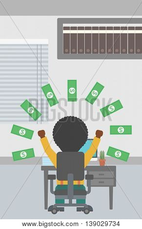 An african-american businessman with raised hands celebrating while sitting under money rain. Successful business concept. Vector flat design illustration. Vertical layout.