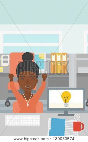 An african business woman with arms up having business idea. Woman working on a computer with business idea bulb on a screen. Business idea concept. Vector flat design illustration. Vertical layout.