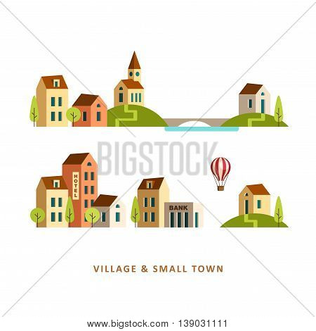 Rural and urban landscape. Village. Small town. Vector flat illustration.