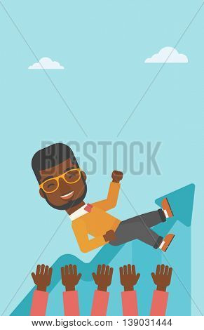 An african-american young businessman get thrown into the air by coworkers during celebration. Successful business concept. Vector flat design illustration. Vertical layout.