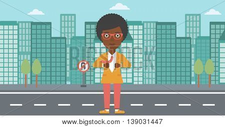 An african-american business woman opening her jacket like superhero on the background of modern city. Business woman superhero. Vector flat design illustration. Horizontal layout.
