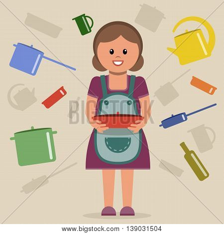 Vector illustration with a housewife and cooking utensils. Grouped for easy editing.
