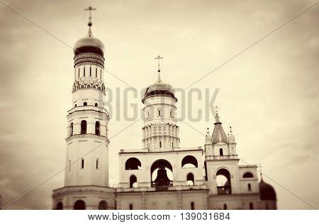 Moscow Kremlin. UNESCO World Heritage Site. Vintage style sepia photo.