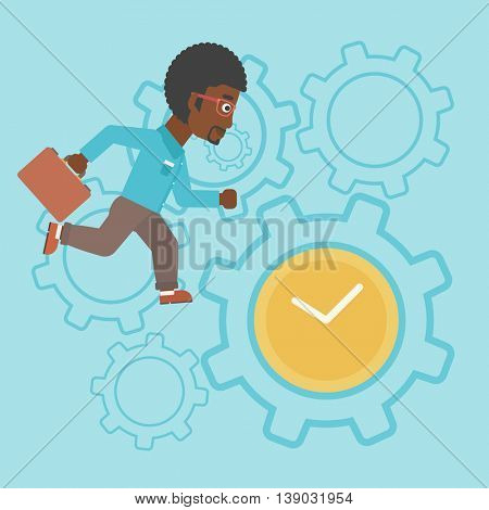 An african-american young businessman with briefcase running on a blue background with clock and cogwheels. Vector flat design illustration. Square layout.